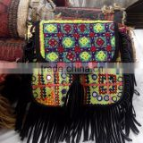 Multicolor banjara suede sling bags with leather fringes