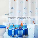 Hot sale bathroom set Shower Curtain and matching PP Bath Accessories/bath mat set/square hamper