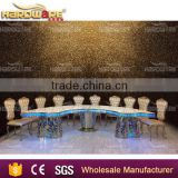 half round banquet led gold stainless steel moon wedding dining table                                                                         Quality Choice