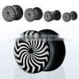 Black acrylic plug with psychedelic swirl pattern