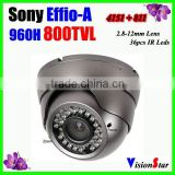 High performance outdoor camera 2.8-12mm manual zoom lens metal 800TVL 36pcs ir leds sony Effio-A dome analog camera