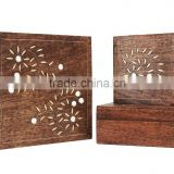 Store Indya Wooden Set of 3 Keepsake Storage Boxes Jewelry Trinket Organizers Multipurpose with Mirror Inlay