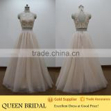 Real Sample Halter Neck Beaded Sexu Back Open Two Piece Evening Dress