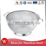 High quality custom fruit basket strainer new style stainless steel kitchen colander with handle and feet