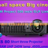 2012 LED full hd 3d projector 1080p Home Audio,short throw active shutter dlp projector