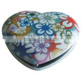 Hot printing heart shape custom fashion aluminum cosmetic mirror                                                                         Quality Choice