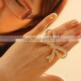New Bowknot Bling Crystal Shiny Gold Silver Plated Adjustable Women Ring Jewelry