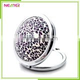 round shape metal with fabric power bank mirror cosmetic pocket mirror for make up