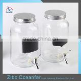 Factory Price Glass Dispenser Jars Clear Glass Bottle Black Decal Drinks Dispenser With Tap