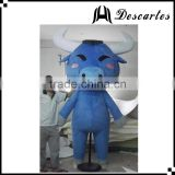 Blue bull plush walking costume, adult cattle mascot costume for sale