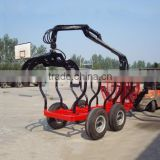 CE certificate 1 Ton Log loading Trailer with Crane