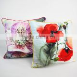 Throw decorative pillows home textile flower printed pillowcase velvet pillow covers with piping
