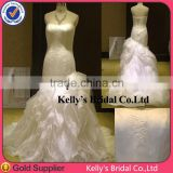 New style Appliqued lace strapless organza ruffled bottom wedding gowns