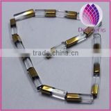 2014 NEW Bead copper-plated glass clear 20x5mm square tube