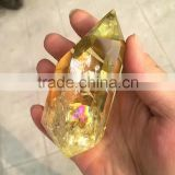 Beautiful natural rainbow citrine quartz crystal double piont/wand,double quartz crystal