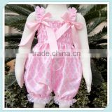 Wholesale child bubble knickers pink quatrefoil outfit children clothing sleeveless quatrefoil print jumpsuits for baby girls