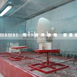 Glazing spray booth with water-curtain for sanitaryware products
