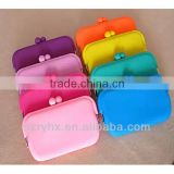 Fluorescent color soft silicone wallet candy color silicone coin purse phones package small cosmetic bag