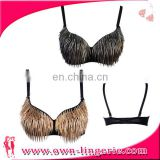 Women Sexy Club beaded tassel belly dance push up bra top