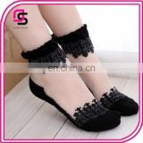 In stock Elegant lady summer glass low cut out boat socks,lace flower cotton bottom crystal short stockings