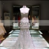 high neck pictures of latest gown wedding dress bridal ball gown backless Muslim wedding gown