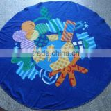 luxury circle cotton beach towel with applique