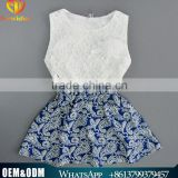 2016 Ins Fashion Children Girl Clothing Set 2PCS Ivory Lace Top + Blue And White Dress Pure Cotton Kids Clothes Suit Sets