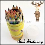 "7""inch standard multi rainbow color wooden colored lead pencil in colored printing tube box 24pcs set"
