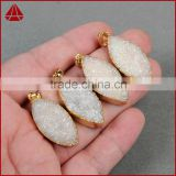 Gold Edge Leaf Druzy Mineral Geode Necklace Jewelry China import necklace jewelry