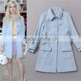 2014 hot selling slim fit high quality brands fashion woolen breasted crystal blue coat women G167