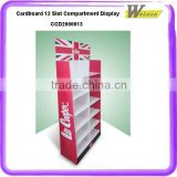 promotion advertising cardboard compartment shelf wobbler display for face makeup brush set