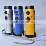 High quality hand shake rechargeable led flashlight am fm two band radio