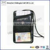Black Men Women Leather Neck PASSPORT ID Boarding Pass Travel Holder Wallet with Pen holder