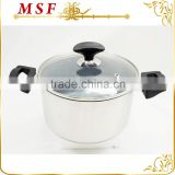 straight shape stainless steel hot pot casserole nonstick marble coating inside and induction bottom