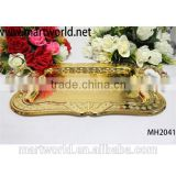 Wholesale gold square tray for wedding events&party,royal and classical golden metal meterial wedding cake stand(MH-2041)