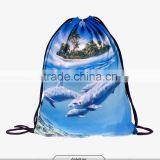 2016 Fashion summer backpack drawstring bag dolphins digital print sewing No raw edges tote tutorial with travel stuff