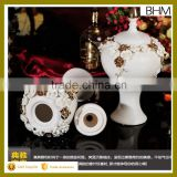European style china supplier ceramic ball mansion jars with lid for candy