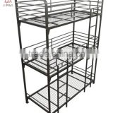 Blue Black White Home Bedroom Metal Kids 3 Tier Bunk Bed