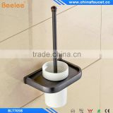 Black Oil Rubbed Bronze Bathroom Toilet Brush Holder Wall Mounted Ceramic Cup