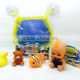 rubber animal bath toy with net mesh suction cup
