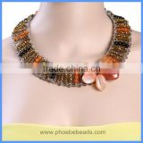 Wholesale Handmade Crystal Seed Bead Multi-strands Agate Gemstone Flower Wide Choker Necklaces GN-DQ057