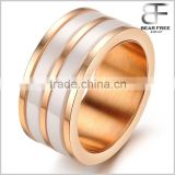 Wholesale Handmade Rose Gold Plating White Ceramic Stainless Steel Ring for Men