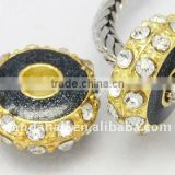Alloy Rhinestone Beads, Enamel, Golden Metal Color, Rondelle, Black, about 14x6.5mm, hole: 5mm(ALRI-B001-10)