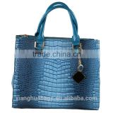 2015 latest Italian design fashion crocodile printed ladies leather handbags