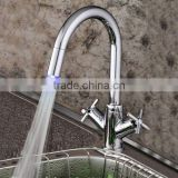 brass chrome dual handle led kitchen faucet