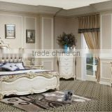 2015 Antique French King size wooden bedroom set/ Alibaba Italian hand carved wood with silver leaf bedroom furniture