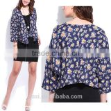 Hot sale new style polyester blend full print ladies long sleeve fashion women cloak jacket