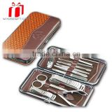 Hot Selling Fashionable 12pcs Nail Care Manicure Set/snake Pattern Bag Pedicure Kit/nail Beauty Sharper Kit At High Quality