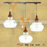 Factory Wrought Sterling Wood Style Pendant Lamp Modern GlassTrack Light Decoration Hanging Lamp