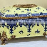Chinese style painting design blue and yellow color animal head brass decorative ceramic tissue box